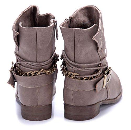 Schuhtempel24 Damen Schuhe Klassische Stiefeletten Stiefel Boots Blockabsatz Schnalle/Zierkette 3 cm Khaki