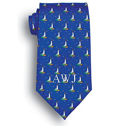 Personalized Silk Harbor Lights Novelty Tie with Embroidered Initials