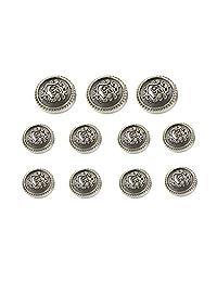 Funcoo 11 pcs Antique Metal Blazer Button Vintage Suits Button Set for Blazer, Suits, Sport Coat, Uniform, Jacket (Silver)