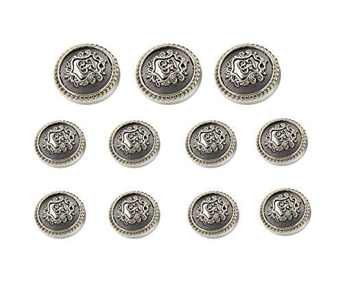 Buttons Antique Vintage - Funcoo 11 pcs Antique Metal Blazer Button Vintage Suits Button Set for Blazer, Suits, Sport Coat, Uniform, Jacket (Silver)