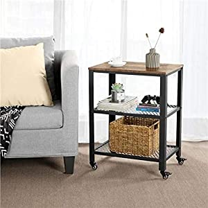 Yaheetech Set of 2 Side Tables Nightstand, Industrial End Table with Mesh Shelves, Accent Furniture for Living Room, Bedroom
