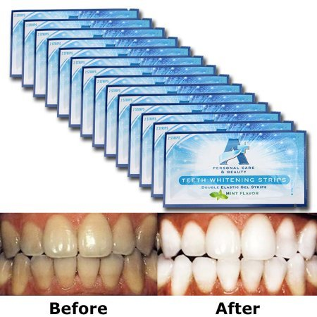 Teeth Whitening Strips - Glamorous White - 6% HP Professional Strength - 30 Mins Express Effect - 14 Packs 28 Pieces + Bonus Shade Guide - Vakker (Min Formula 4)