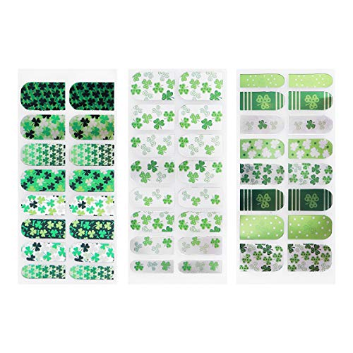 (LUOEM 6 Sheets Shamrock Nail Sticker DIY Self-Adhesive Nail Tip Decal Safe Manicure Decoration for Women Girls St Patrick's Day)