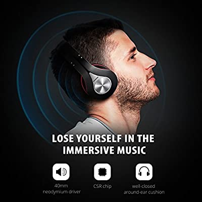 Mpow 059 Bluetooth Headphones Over Ear, Hi-Fi Stereo Wireless Headset, Foldable, Soft Memory-Protein Earmuffs, w/Built-in Mic Wired Mode PC/Cell Phones/TV
