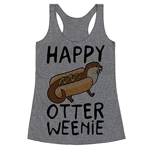 LookHUMAN Happy Otterweenie XL Heathered Gray Women's Racerback -