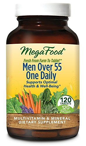 MegaFood – Men Over 55 One Daily, Multivitamin Support for Healthy Energy Production and Immunity with Vitamins C and D3, and Methylated Folate and B12, Vegetarian, Gluten-Free, Non-GMO, 120 Tablet
