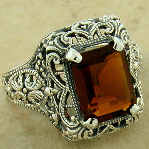 Filigree Antique Style 925 Sterling Silver 2.5 CT SIM Garnet Ring Size 8 KN-1502