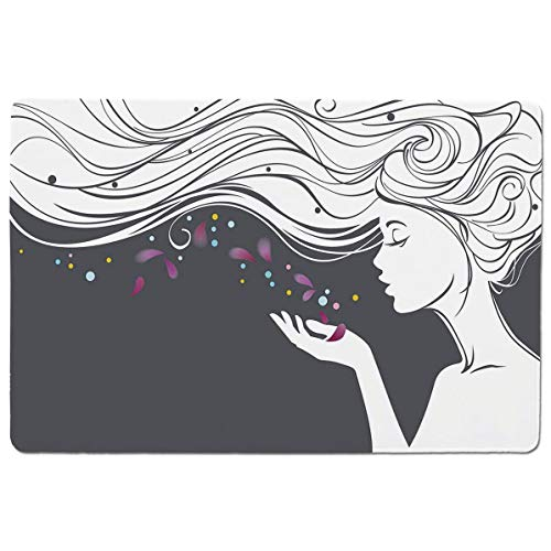 SCOCICI Gaming Mouse Pad with Stitched Edges,Madam Inspired Spiritual Girl Blowing Petals Mother Earth Illustration,Non-Slip Rubber Base Mousepad for Laptop,Computer & PC 23.6x15.7X0.1 inch (Solid Madam Gold)