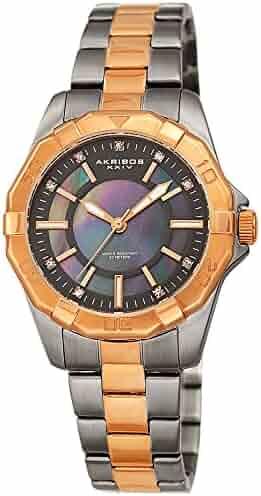 d140a1da8409 Akribos XXIV Women s Watch - Stylish Rose Gold and Gunmetal Two Tone  Stainless Steel Bracelet