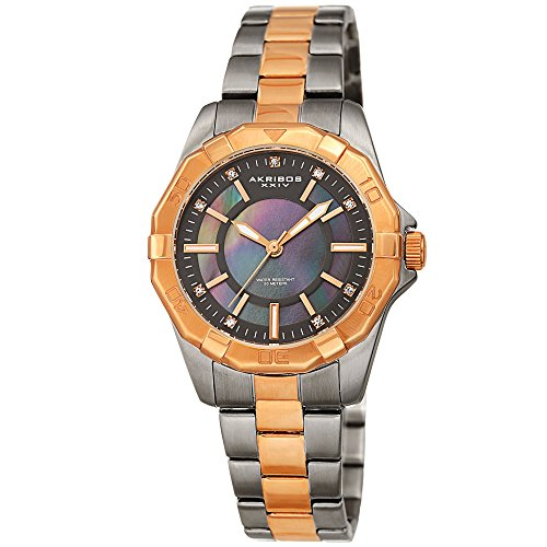 (Akribos XXIV Women's Watch - Stylish Rose Gold and Gunmetal Two Tone Stainless Steel Bracelet, Mother of Pearl Dial Cubic Zirconium Stone Markers - AK1006RGN)