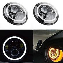 TURBO SII 7 Inch Round Projector Led Headlights For Jeep Wrangler JKU JK CJ LJ FJ Pre 2005 Model H6024 With H4 Plug H4-H13 Adapter