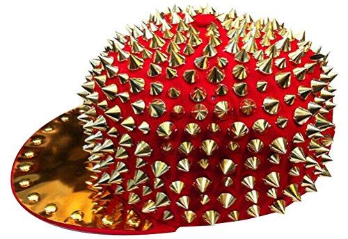 MINAKOLIFE Spike Studded Accessories Punk Hats Adjustable Cap Bright Brim Red