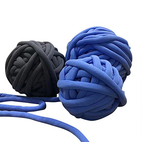 Wholesale Super Chunky Vegan Yarn, Acrylic Bulky Thick Roving Washable Softee Chunky Yarn for Arm Knitting DIY Handmade Blankets (Blue, 120m) by HomeModa Studio (Image #2)