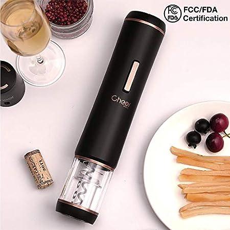 CHEER MODA Abrebotellas de vino eléctrico, sacacorchos automático, removedor de corcho inalámbrico a pilas con cortador de lámina adjunto