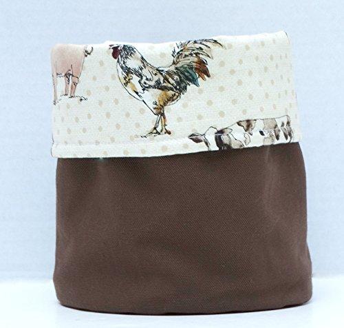 Cow - Chicken - Pig Print Decorative Cloth Bin - Canvas & Cotton - Farmer Gift