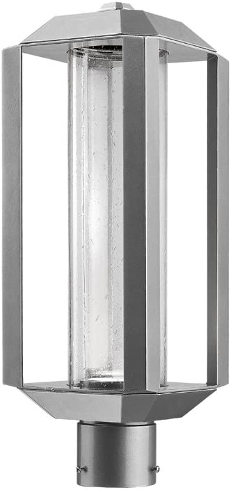 Artcraft Ac9093sl Wexford 19 75 12w 1 Led Outdoor Post Lantern Silver Finish With Seeded Glass