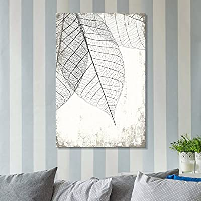 Incredible Piece of Art, Classic Artwork, Black and White Leaf Vein on Rustic Background