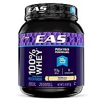 Polvo de proteína de suero 100% puro EAS, vainilla, 2 lb (el empaque puede variar)