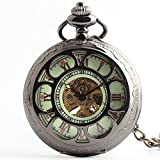 Zxcvlina Classic Smooth Hollowed Retro Mechanical Pocket Watch Green Dial Roman Numberals Unisex Pocket Watch with Chain Suitable for Gift Giving