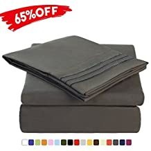 Merous 4 Piece Bed Sheet Set with Deep Pocket - Hypoallergenic Soft Brushed Microfiber Bedding Sheets - Wrinkle, Fade, Stain Resistant - Queen, Dark Grey