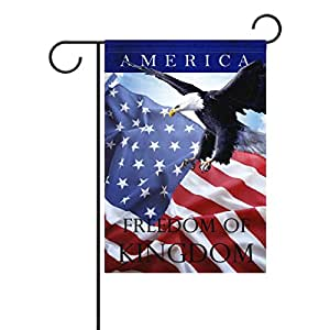 Duble cara bandera de American Eagles 4de julio de la libertad de día de la independencia Patriótico poliéster casa jardín bandera Banner 12x 18/28x 40pulgadas para todo tipo de clima para boda fiesta