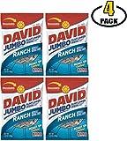 David Jumbo Sunflower Seeds - Ranch Flavor - Davids Sun Flower Flavored Bulk Seed Packs - Perfect Snacks for Baseball Games - BASED BOX Bundle (5.25oz Bag, Pack of 5)