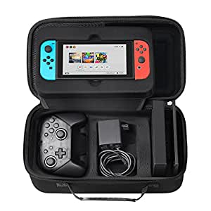 Nintendo Switch storage case SHareconn travel bags Nintendo switch carrying case hard case, black