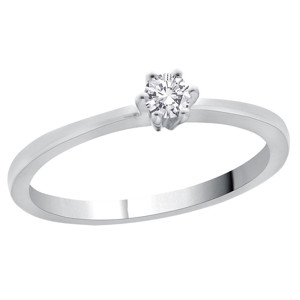 Diamond Promise Ring in Sterling Silver (1/10 cttw) (GH-Color, I2/I3-Clarity) (Size-6)