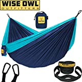 Wise Owl Outfitters Hammock for Camping Single & Double Hammocks Gear for The Outdoors Backpacking Survival or Travel - Portable Lightweight Parachute Nylon DO Navy & Lt Blue
