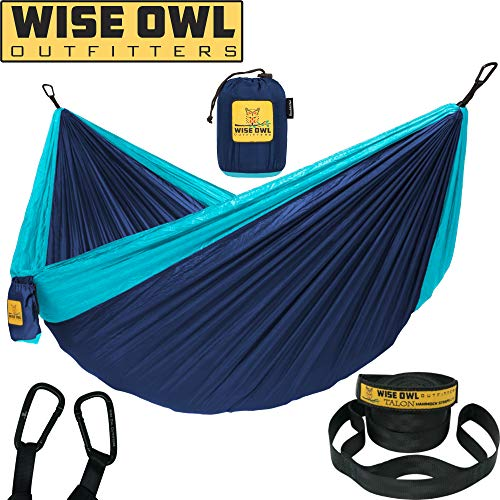 Wise Owl Outfitters Hammock for Camping Single & Double Hammocks Gear for The Outdoors Backpacking Survival or Travel - Portable Lightweight Parachute Nylon DO Navy & Lt Blue ()