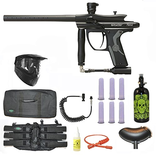 Spyder Fenix Paintball Marker Gun 3Skull N2 Sniper Set - Diamond Black