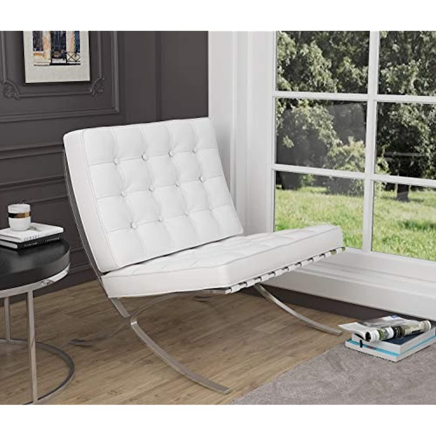 Fulol Modern Atrium Accent Chair Lounge Chair for Living Room Bedroom, Leather Seat and Stainless Steel Frame (White)