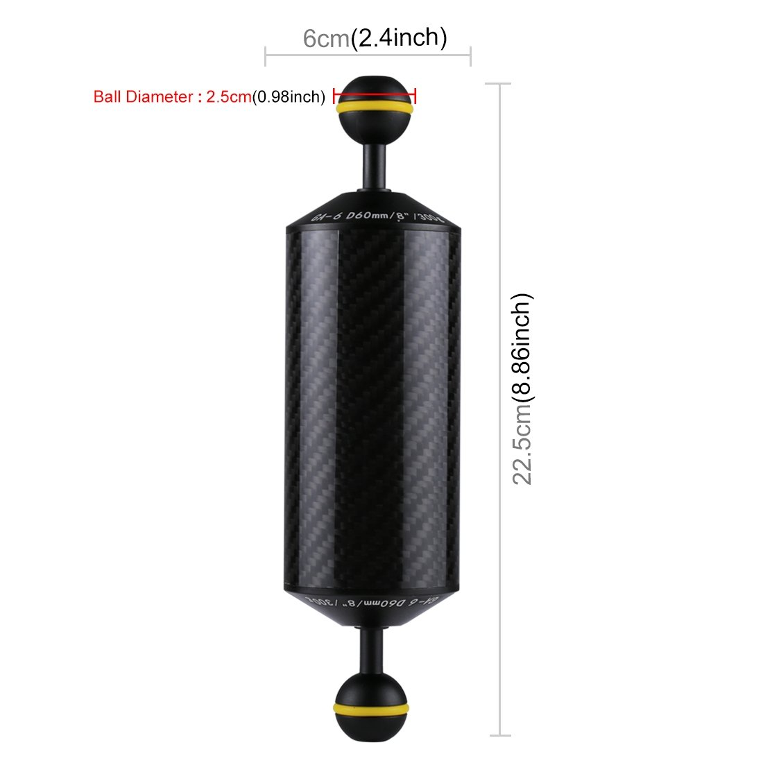 PULUZ 8.86 inch/22.5cm Diameter 60cm Carbon Fiber Dual Balls Float Arm Underwater Photography Buoyancy System
