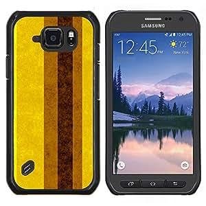 LECELL--Funda protectora / Cubierta / Piel For Samsung Galaxy S6Active Active G890A -- Tierra Brown amarillas Líneas Rayas --
