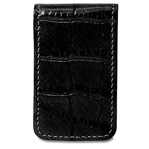 Jack Georges Unisex [Personalized Initials Embossing] Croco Money Clip in Black