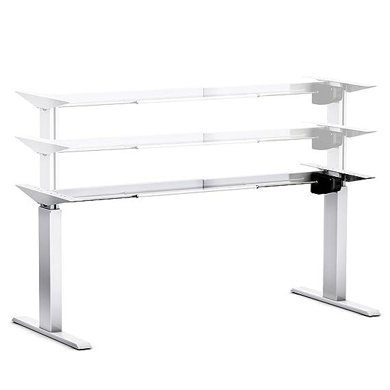 Ergobasis elektrisches Tischgestell Light Silber (Best-Price), stufenlos höhenverstellbar ca. 70-116 cm, Alu-Leichtbau-Gestel