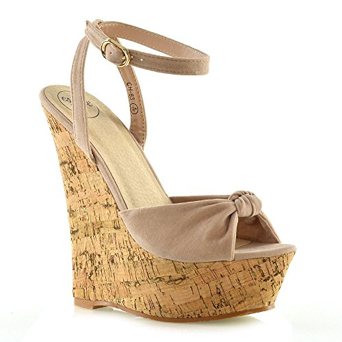 - ESSEX GLAM Womens Wedge Sandals Ladies Nude Faux Suede Cork Knot Platform Peep Toe Shoes 6 B(M) US