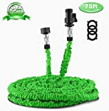 Waterpal Garden Hose 75ft Expandable Water Triple Layer Latex Core, Stamped Aluminum Joints & Extra Strength Fabric Car Wash Use, Green