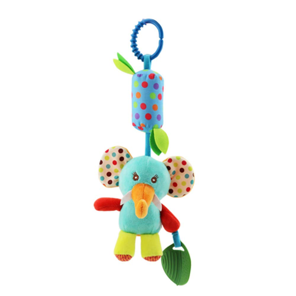 4 PCS Baby Soft Hanging Rattle Crinkle Squeaky Toy Animal Ring Plush Stroller Accessories Infant Car Bed Crib Travel Activity Hanging Wind Chime with Teether for Boys Girls Joyshare