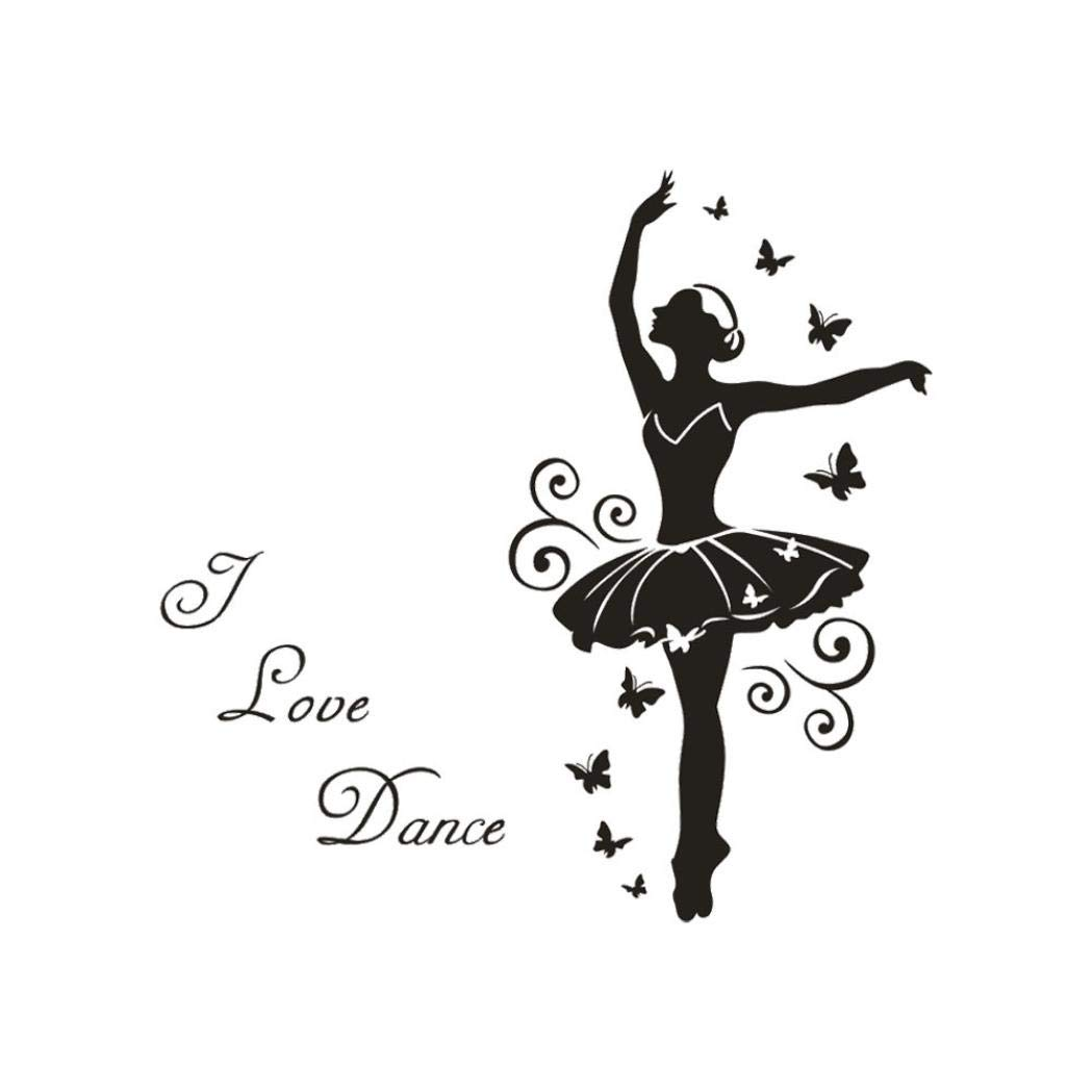 Cloudro Wall Stickers,Butterfly Girl Removable Quotes DIY Wall Sticker Kids Livingroom Room Home Decor Vinyl Art Murals Art Decal New,I Iove Dance(C)