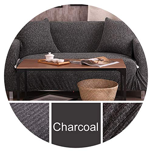 Melange Knitting slipcovers Universal Stretch Sofa Cover Elasticity seat Couch Cover Loveseat Sofa Furniture Cover Towel All wrap,Charcoal,2 seat 140-185cm