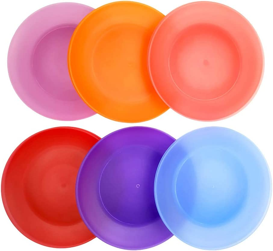 Everyday Plates Set of 24 - Unbreakable and Reusable 10 inch Plastic Dinner Plates, 6 Assorted Color | Dishwasher Safe,BPA Free