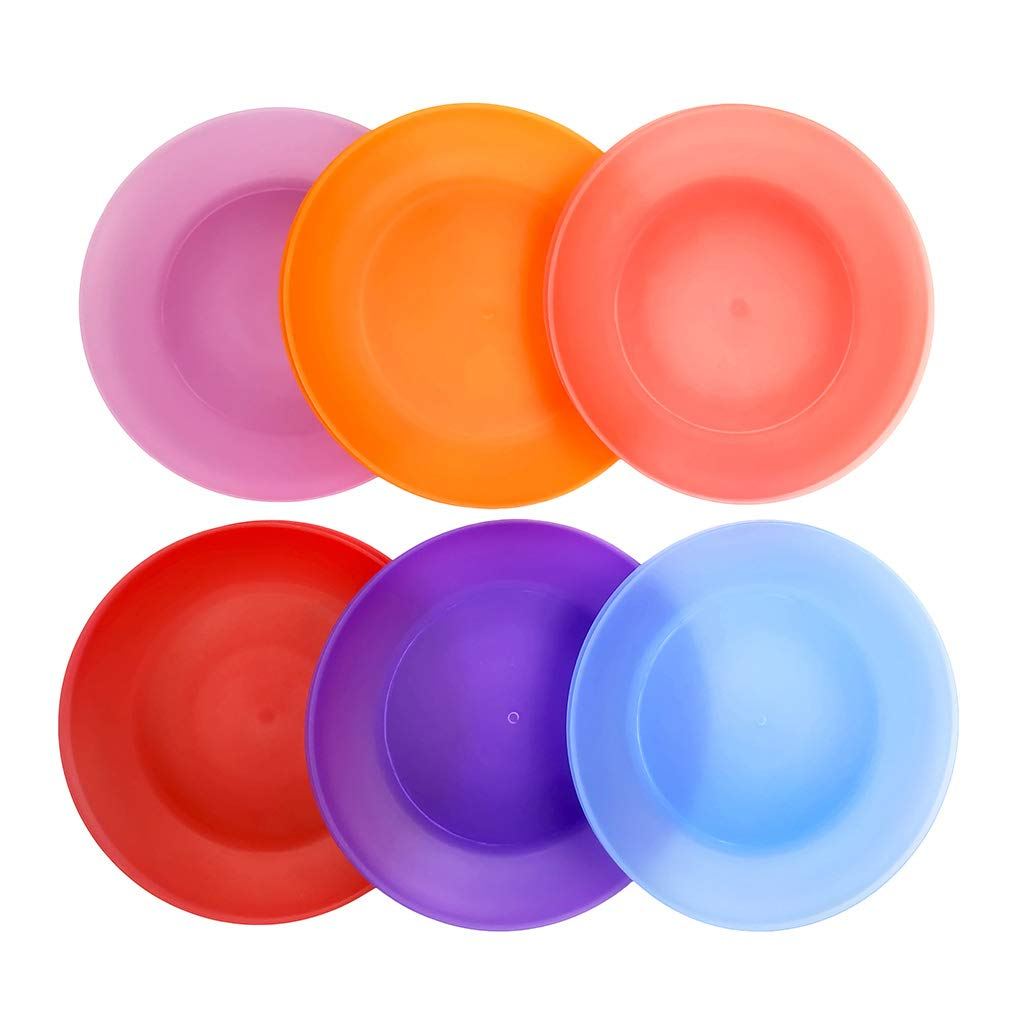 Everyday Plates Set of 12 - Unbreakable and Reusable 10 inch Plastic Dinner Plates, 6 Assorted Color   Dishwasher Safe,BPA Free