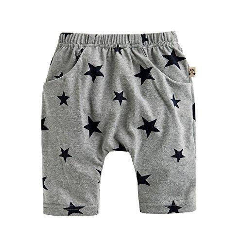 Agibaby Boys & Girls Infant & Toddler Cotton Thin/Soft Summer Capri Star Pants (XS(6-12months), Gray) Boys Capri Pants