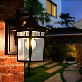 Lampara de pared al aire libre, Jardin, iluminacion exterior, artesanias retro, Patio, corredor, al aire libre,3W,Noble negro mate: Amazon.es: Iluminación