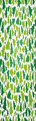 Christmas 3D Decorative Film Privacy Window Film No Glue,Frosted Film Decorative,Simplistic Fir Pine Tree Silhouettes with Checkered Pattern Decorative,for Home&Office,17.7x59Inch Fern Green Apple Gre