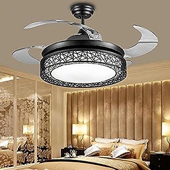 TiptonLight Black Retractable Ceiling Fan With Birdu0027s Nest Retractable  Ceiling Fans 42 Inch Invisible Chandelier Fan