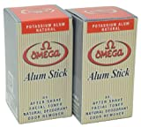 Omega Potassium Alum Stick Natural Aftershave and Toner Pack of 2