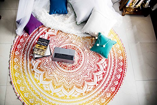 Folkulture Sunset Hue Mandala Round Beach Towels or Beach Blanket, Hippie Boho Tapestry, Indian Bohemian Circle Tablecloth or Rug, Bohemian Cotton Yoga Mat for Meditation - 72 Inches, Yellow
