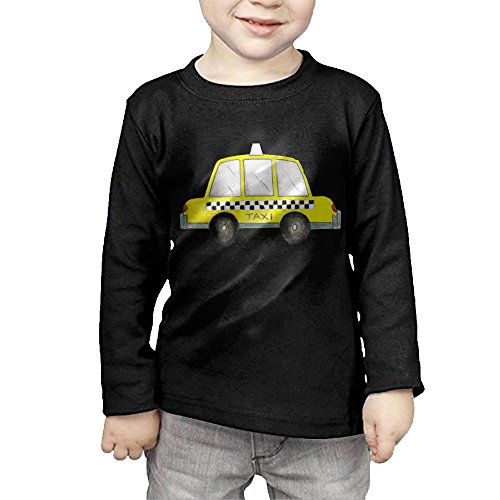 Zheuo Boys   Girls Toddler Taxi Nyc Yellow New York City Checkered Cab Car Cozy 100  Cotton T Shirts Unisex Black 5 6 Toddler